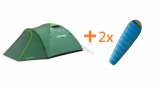 Zelt OUTDOOR BIZON 4 PLUS + 2x Schlafsack HUSKY