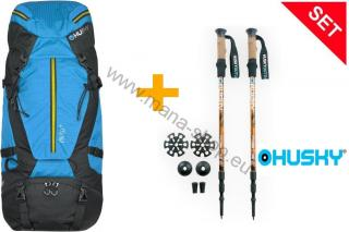 SET Expedition Rucksack GIRO 60 l + Trekking Sticks SHERPA