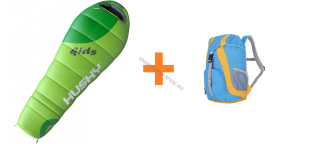 Schlafsack KIDS MAGIC Green -12°C + Kinderrucksack SWEETY 6 l gratis