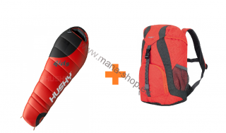 Schlafsack KIDS MAGIC Rot -12°C + Kinderrucksack SWEETY 6 l gratis